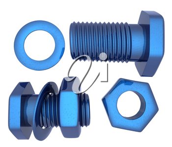 Screws and nuts set. 3d illustration