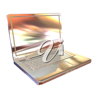 Chrome, metallic laptop isolated on white background. 3d illustration