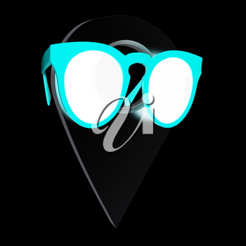 Glamour map pointer in sunglasses. 3d illustration
