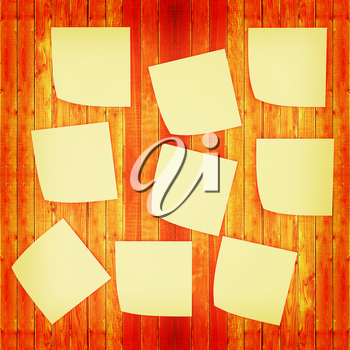Mock-up of Sticky note paper on a wooden wall. 3D illustration. Vintage style