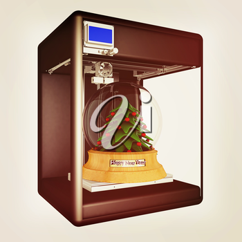 3d printer during work on the Christmas tree. 3d illustration. Vintage style