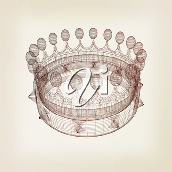 Crown. 3D illustration. Vintage style