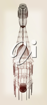 Traditional arabic lamp - Arabian chandelier. 3D illustration.. Vintage style