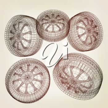 computer drawing of car wheel. Top view. 3d illustration. Vintage style