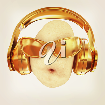 potato with sun glass and headphones front face on a white background. 3d illustration. Vintage style