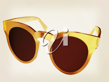 Cool gold sunglasses. 3d illustration. Vintage style