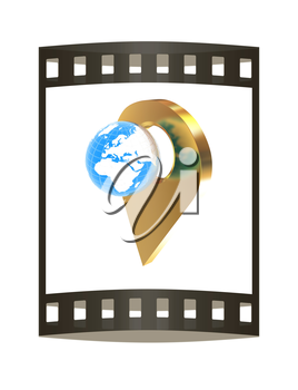 Planet Earth and golden map pins icon on Earth. 3d illustration.. The film strip.