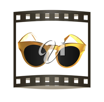 Cool gold sunglasses. 3d illustration. The film strip.