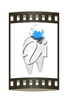 Tooth and Earth. 3d illustration. Film strip.