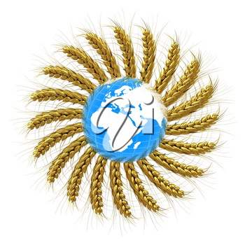 3D illustration of a golden wreath made of wheat spikelets with Earth. Design element. 3d render