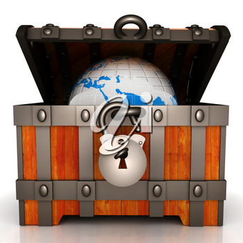 Earth in wood chest. Original global ecology concept of saved Earth. 3d illustration