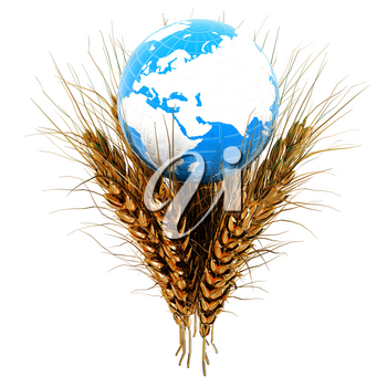 Golden metal ears of wheat and Earth. Symbol that depicts prosperity, wealth and abundance. 3d render