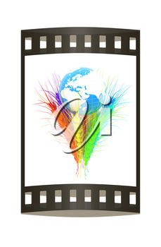 Colorfull ears of wheat and Earth. Symbol that depicts prosperity, wealth and abundance.. Film strip.