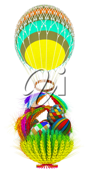 Hot Colored Air Balloon with a basket of multicolored wheat and Easter eggs inside. 3d render