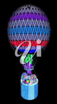 Hot Colored Air Balloon with a basket, Easter eggs inside and tulips. 3d render. On a black background.