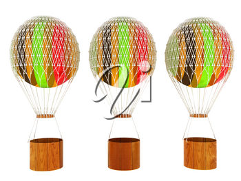 Set of Hot Colored Air Balloons and a basket. 3d render