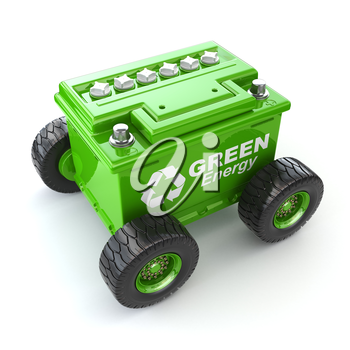 Accumilator or car battery on the wheel. Green energy concept. 3d