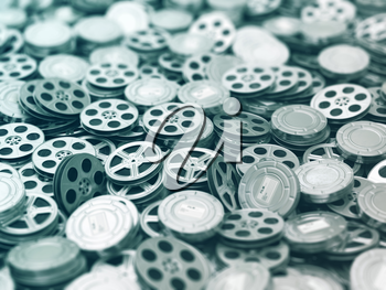 Films collection. Movie video reels background. 3d