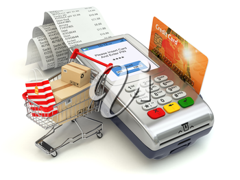 Shopping online concept. Pos terminal with credit card and shopping cart and bag with purchases. 3d