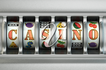 Slot machine with casino text. Jackpot concept. 3d