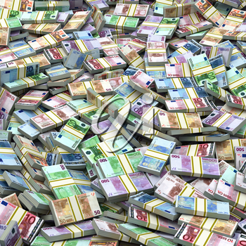 Euro packs pile background. Financial concept. 3d