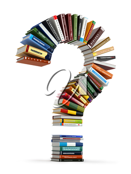 Question mark from books. Searching information or FAQ edication concept 3d