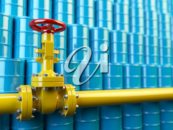 Yellow gas pipe line valves and blue oil barrels. Fuel and energy industrial concept. 3d illustration