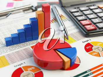 Business financial chart graph on clipboard isolated on white. Accounting, tax financial  report concept. 3d illustraion