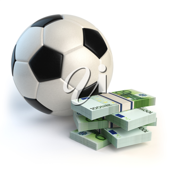 Soccer or football ball and packs of euro isolated on white. Sport bets concept. 3d illustration