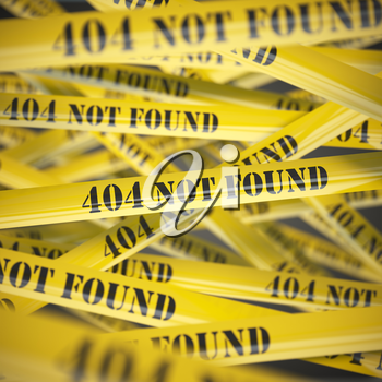 404 not found yellow caution  tape background. 3d illustration