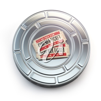Movie, cinema or video vintage concept. Tickets on retro film reel or canister. 3d illustration