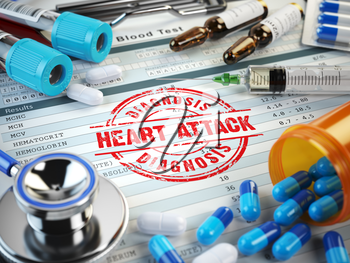 Heart attack diagnosis. Stamp, stethoscope, syringe, blood test and pills on the clipboard with medical report. 3d illustration