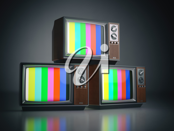 Heap of retro TV sets with no signal. Communication, media and television concept.. 3d illustration
