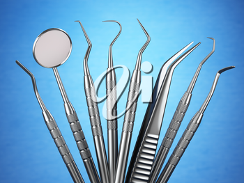 Dental tools set for teeth dental care ion blue background. Stomatology concept.. 3d illustration