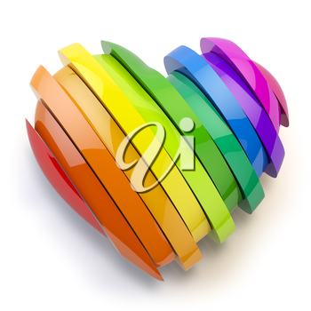 Heart with colors of gay pride LGBT community. Homosexual relationships or gay love concept. 3d illustration