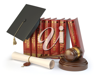 Justice, learning different fields of law concept. Books, graduation hat,  judge gavel and diploma isolated on white. 3d illustration