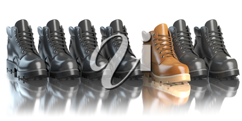 One unique brown boot in the row of black boots. Marketing concept. Choosing the style, Think different. 3d illustration