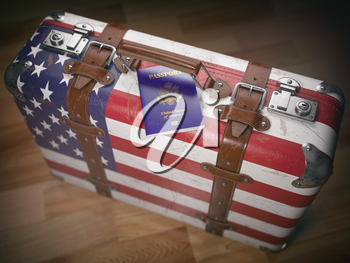 Travel or immigration concept. USA passport and suitcase with flag of USA. 3d illustration