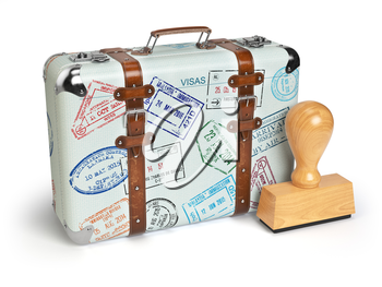 Travel or turism concept. Old suitcase with visa stamps isolated on white. 3d illustration