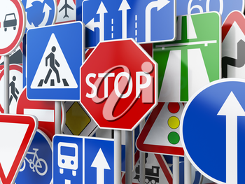 Stop. Traffic road signs on the sky background. 3d illustration