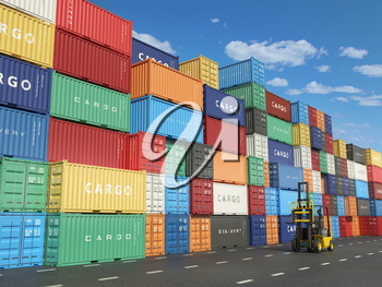 Cargo containers in shipping yard and forklift. Delivery shipping logistic import export industrial concept. 3d illustration