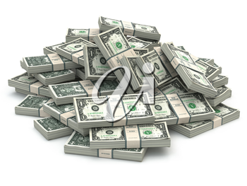 Dollar packs of banknotes heap isolated on white. 3d illustration