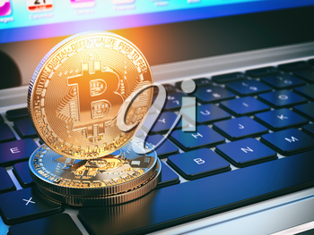 Golden bitcoins on laptop keyboard. Mining of cryptocurrency. 3d illustration