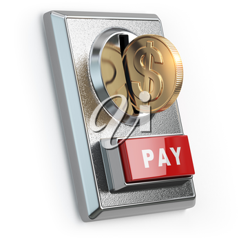 Paying  concept. Coin with dollar sign and coin acceptor isolated on white. 3d illustration