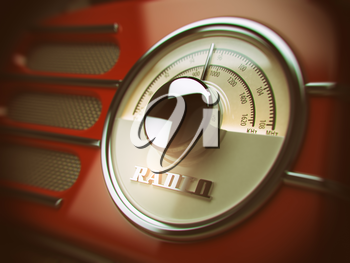 Old radio background. Vintage style. 3d illustration