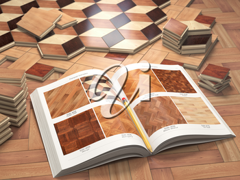 Few types of wooden parquet coating and catalog. Stack ofr parquet wooden planks. 3d illustration