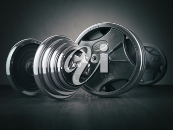Barbell and dumbell. Sports bodybuilding equipment on black background. Fitness or healthy lifestyle concept. 3d illustration