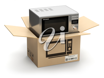 Microwave oven in carton cardboard box. E-commerce, internet online shopping and delivery concept. 3d illustration
