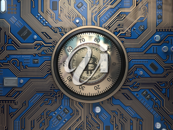 Bitcoin cryptocurrency security  and mining concept. Safe lock with symbol of bitcoin on circuit board. 3d illustration