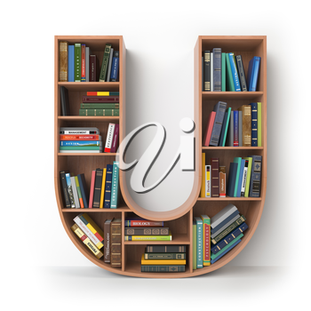 Letter U. Alphabet in the form of shelves with books isolated on white. 3d illustration